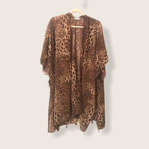 NWOT Leopard print sheer shawl